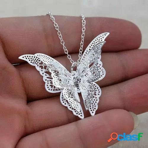 """new 925 sterling silver lovely butterfly pendant chain necklace earrings 20""""women jewelry"""