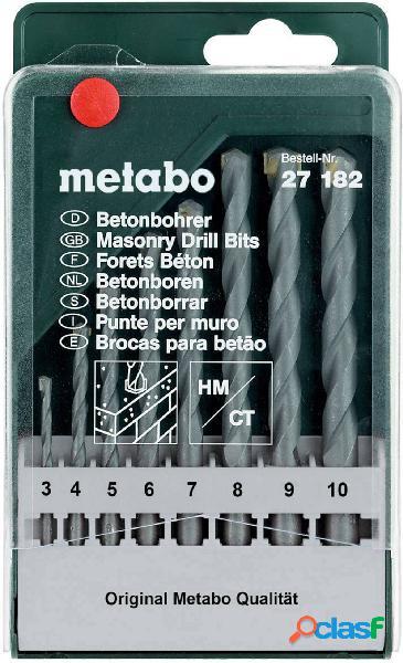 Metabo 627182000 kit punte per calcestruzzo 8 parti 3 mm, 4 mm, 5 mm, 6 mm, 7 mm, 8 mm, 9 mm, 10 mm 8 pz.