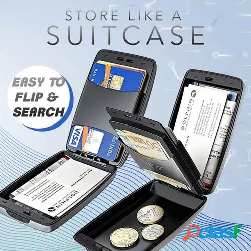 Multifunction rfid anti-theft secure aluminum wallet men women business travel bank card coin purse keys name card bag