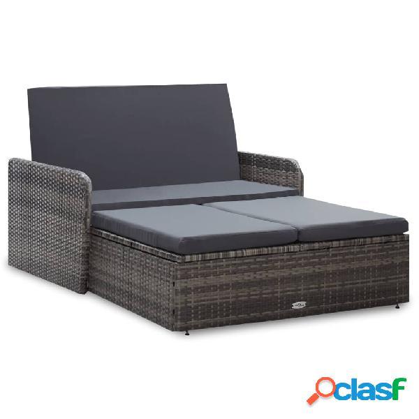 Vidaxl set divani da giardino 2 pz con cuscini in polyrattan nero