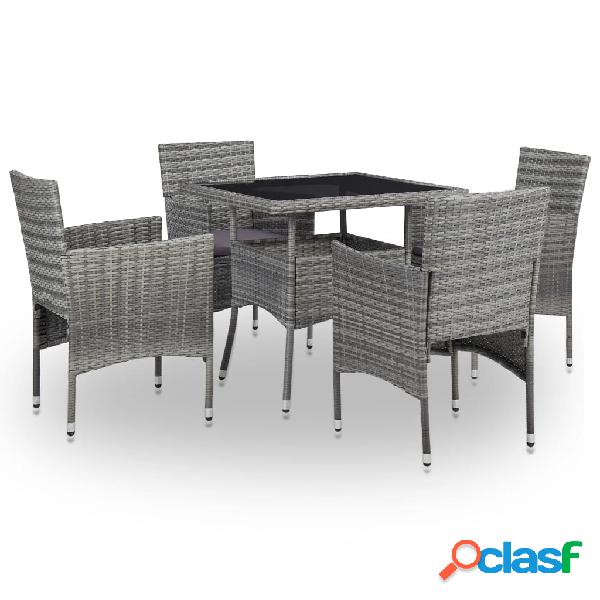 Vidaxl set mobili da pranzo per giardino 5pz grigio polyrattan e vetro