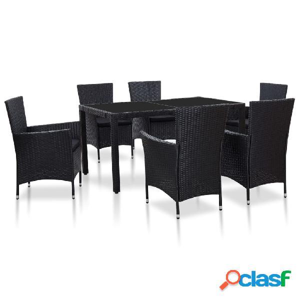 Vidaxl set mobili da pranzo per giardino 7 pz in polyrattan nero