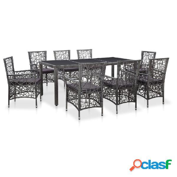Vidaxl set mobili da pranzo per giardino 9 pz in polyrattan grigio