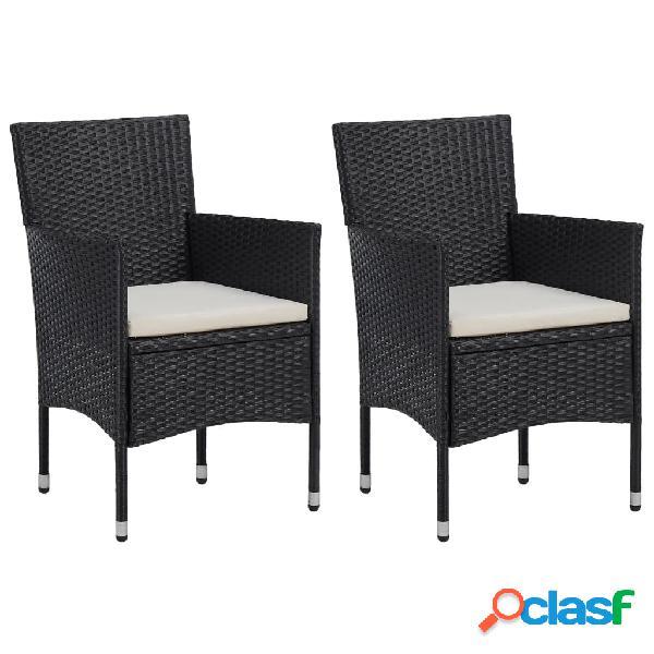 Vidaxl set sedie da pranzo per giardino 2 pz in polyrattan nero