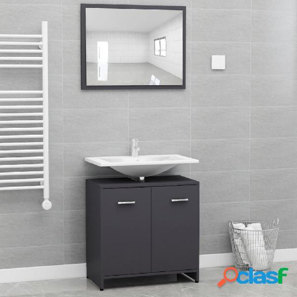 Vidaxl set mobili da bagno grigio in truciolato