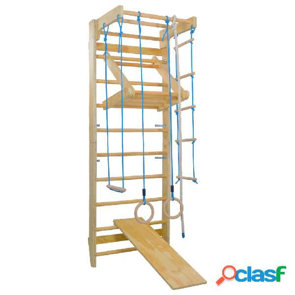 Vidaxl set gioco arrampicata per interni scale anelli scivolo in legno