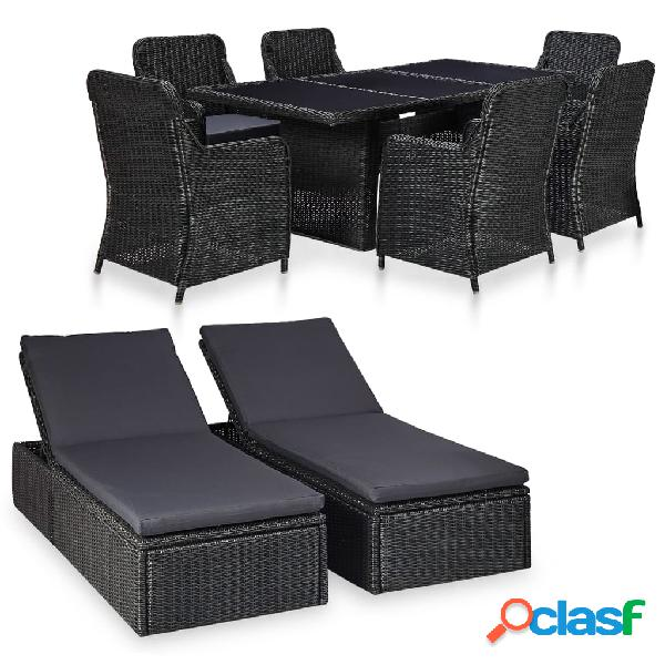 Vidaxl set mobili da pranzo per giardino 9 pz in polyrattan nero