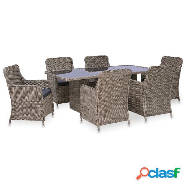 Vidaxl set mobili da pranzo per giardino 7 pz polyrattan marrone