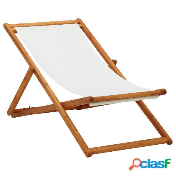 Vidaxl sedia da spiaggia pieghevole legno di eucalipto e tessuto crema