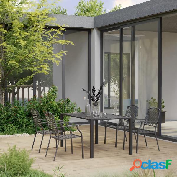 Vidaxl set mobili da pranzo per giardino 5 pz in acciaio nero
