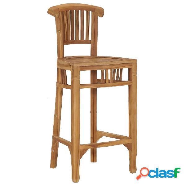 Vidaxl sedia da bar in legno massello di teak