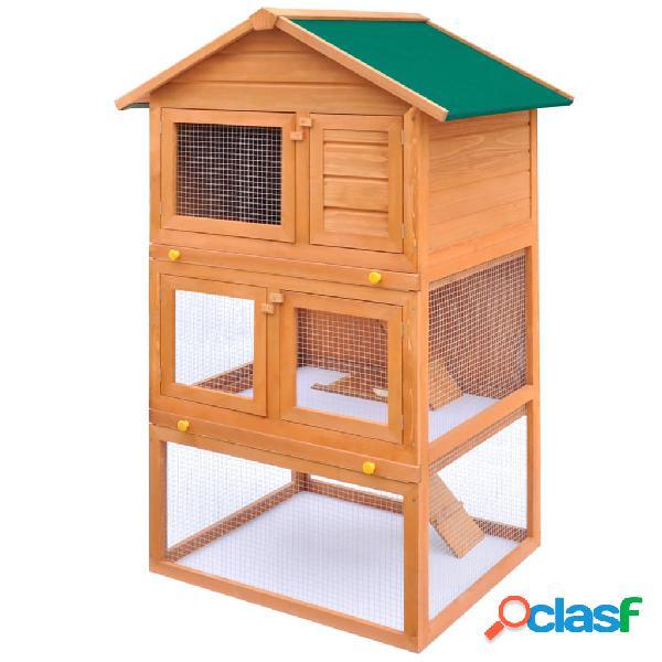 Vidaxl conigliera all'aperto gabbia animali piccoli a 3 livelli legno