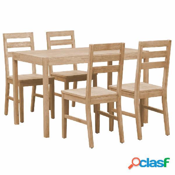 Vidaxl set per sala da pranzo 5 pz in legno massello di acacia