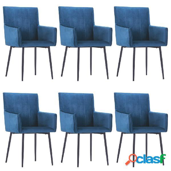Vidaxl sedie da pranzo con braccioli 6 pz blu in velluto