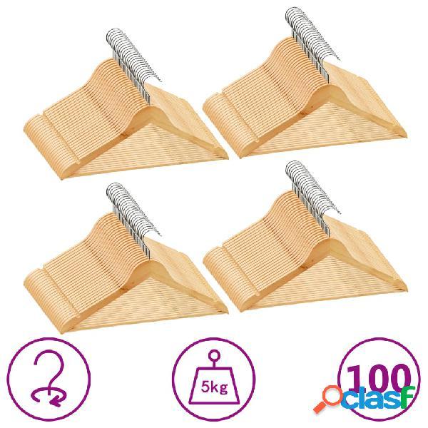 Vidaxl set appendiabiti 100 pz antiscivolo in legno massello