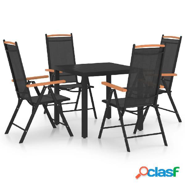Vidaxl set mobili da pranzo per giardino 5 pz in alluminio nero