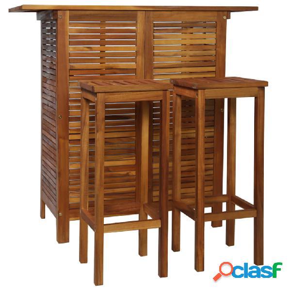Vidaxl set tavolo e sedia da bar 3 pz in legno massello di acacia