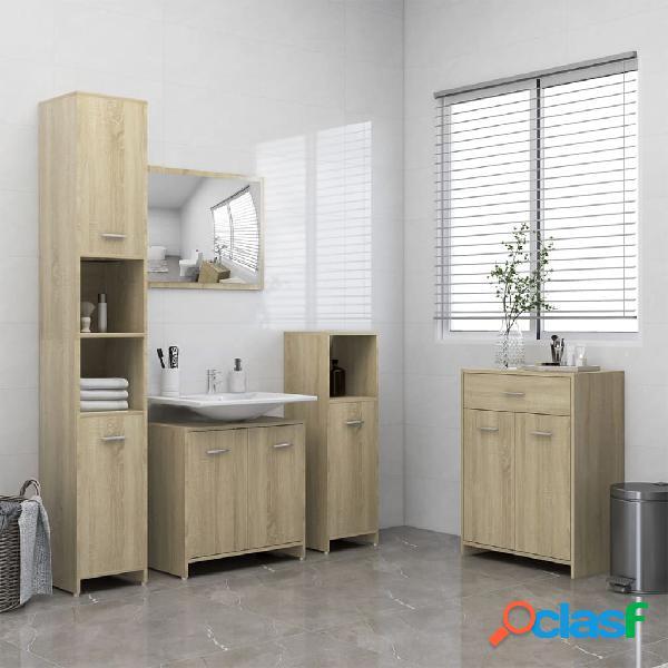 Vidaxl set mobili da bagno 4 pz rovere sonoma