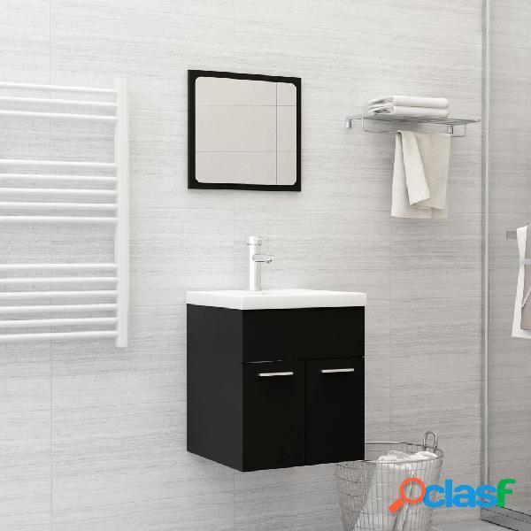 Vidaxl set mobili da bagno nero in truciolato
