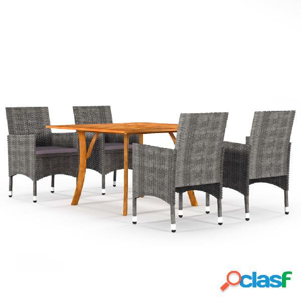 Vidaxl set mobili da pranzo per giardino 5 pz grigio