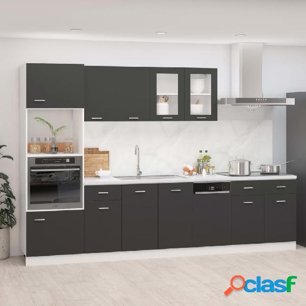 Vidaxl set armadi da cucina 7 pz grigio in truciolato