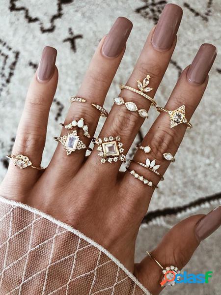 Yoins set di dodici anelli in oro con diamanti bohémien