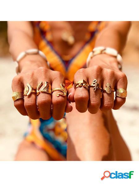 Yoins set di anelli circolari di gioielli in lega d'oro