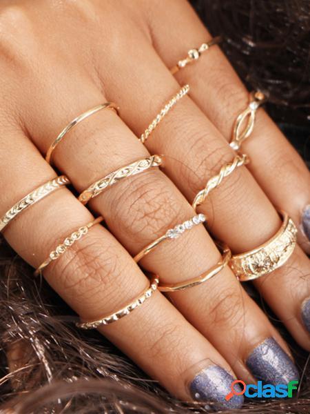 Yoins set di anelli tondi color oro