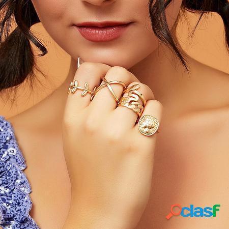 Yoins set di cinque anelli geometrici con grafica dorata