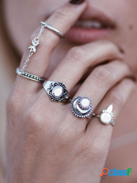 Yoins set di cinque anelli in cristallo di luna d'argento