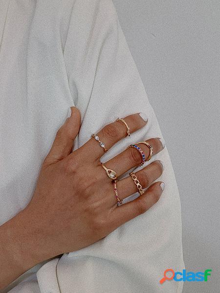 Yoins set di anelli con zirconi micro-incastonati in oro