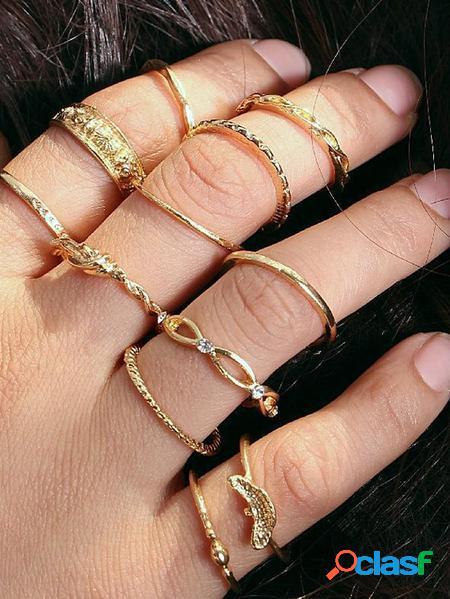 Yoins set di dodici anelli in oro antico bohémien