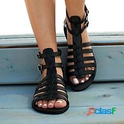 Per donna sandali boho scarpe romane piatto punta tonda casuale vintage ▾ classico quotidiano spiaggia pu sintetico estate marrone chiaro nero oro lightinthebox