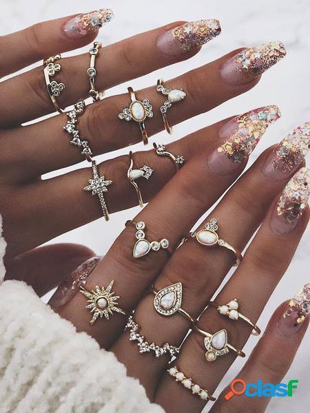 Yoins set di anelli a cerchio in oro da sedici pezzi con anemone antico bohémien