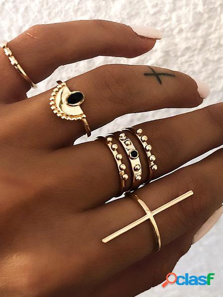 Yoins set di anelli a cerchio da sei pezzi in oro antico con anemone