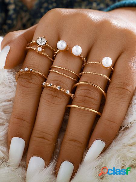 Yoins set di otto anelli aperti con perle d'oro