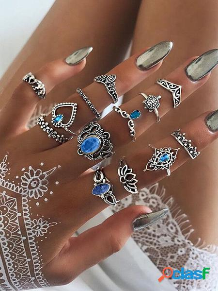 Yoins set di anelli da 13 pezzi con forma geometrica in cristallo d'argento