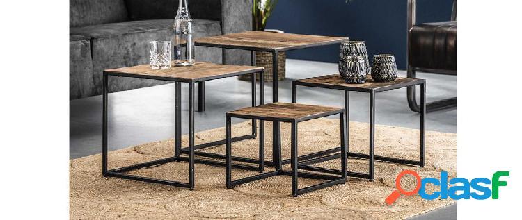Tavolini a incastro in acciaio e legno riciclato hindi (set di 4)