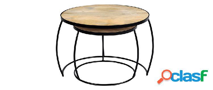 Tavolini bassi a scomparsa mango e metallo barrel