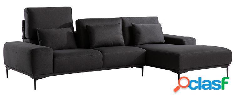 Divano angolare destro di design in tessuto grigio scuro con schienale regolabile konrad