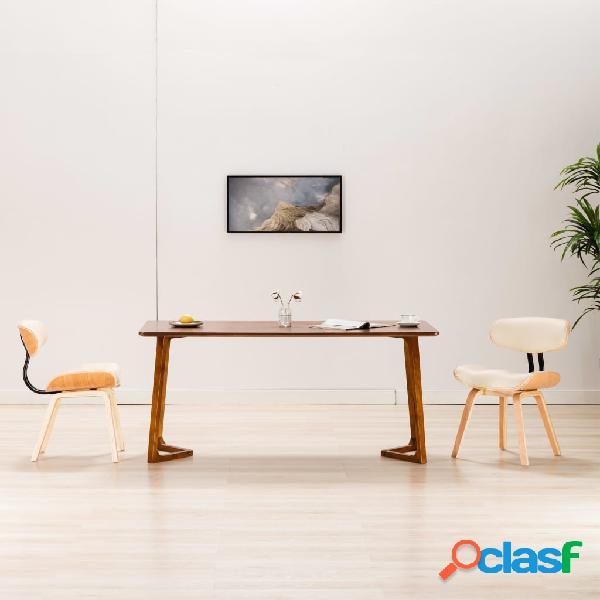 Vidaxl sedie da pranzo 2 pz crema in legno piegato e similpelle