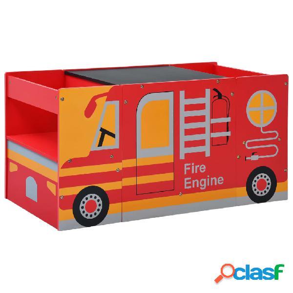 Vidaxl set tavolo per bambini 3pz design camion dei pompieri in legno