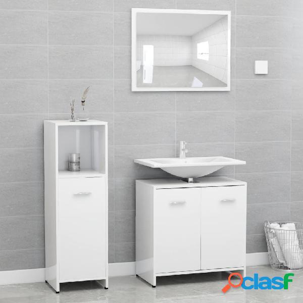 Vidaxl set mobili da bagno 3 pz bianco lucido in truciolato