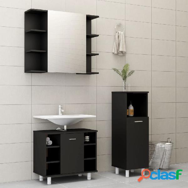 Vidaxl set mobili da bagno 3 pz nero in truciolato