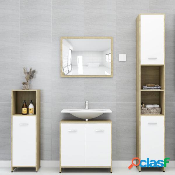 Vidaxl set mobili da bagno 4 pz bianco e rovere sonoma in truciolato