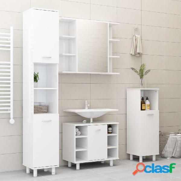 Vidaxl set mobili da bagno 4 pz bianco lucido in truciolato