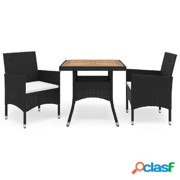 Vidaxl set mobili da pranzo per giardino 3 pz nero polyrattan e acacia