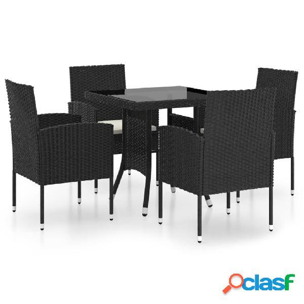 Vidaxl set mobili da pranzo per giardino 5 pz in polyrattan nero