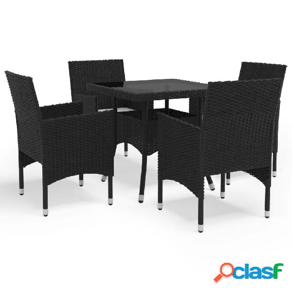 Vidaxl set mobili da pranzo per giardino 5 pz nero polyrattan e vetro