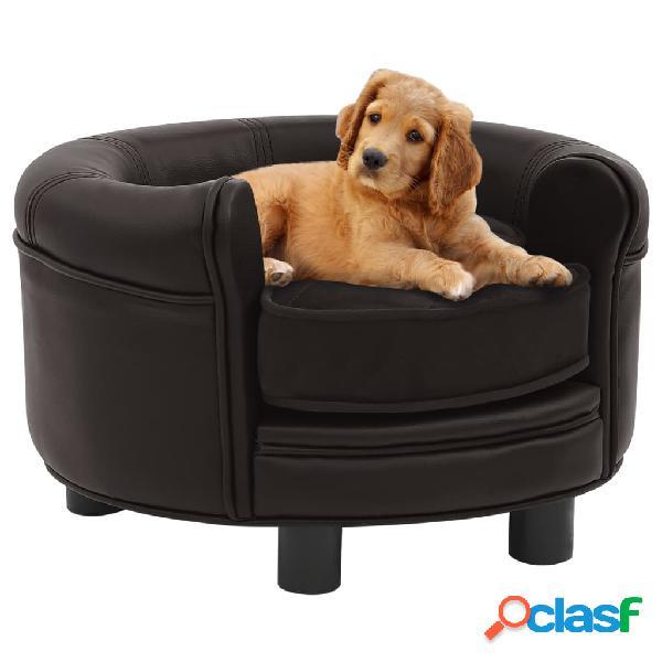 Vidaxl divano per cani marrone 48x48x32 cm in peluche e similpelle